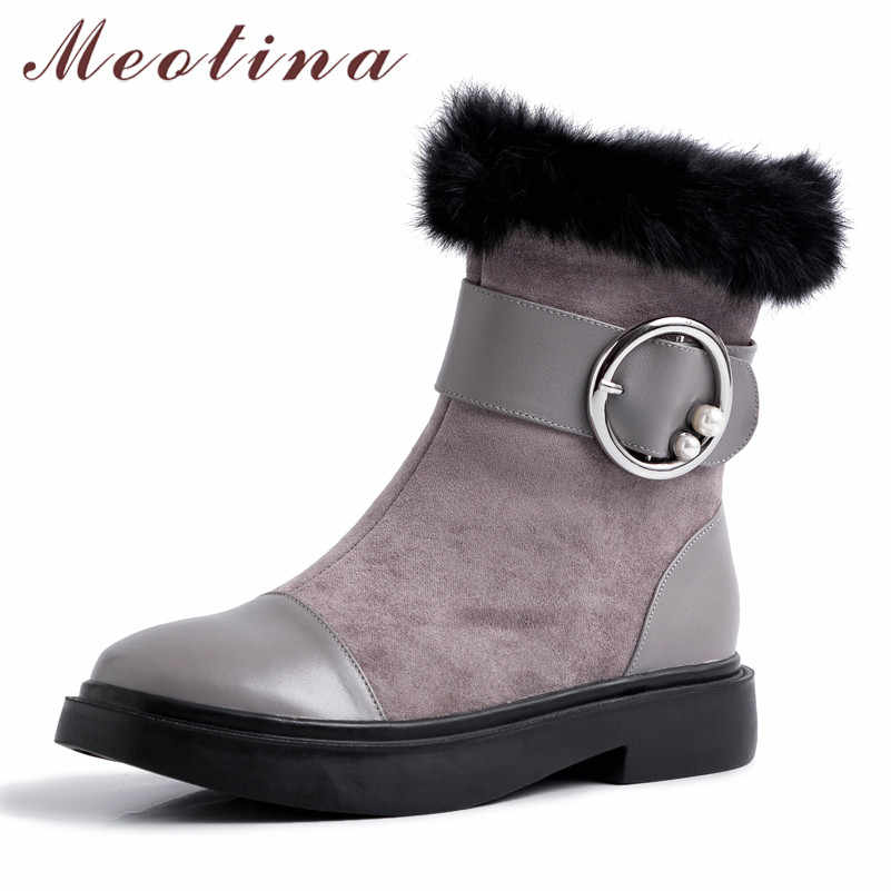 Meotina Winter Real Fur Snow Boots Women Natural Genuine Leather Buckle Flat Ankle Boots Warm Plush Zipper Shoes Lady Size 34-39
