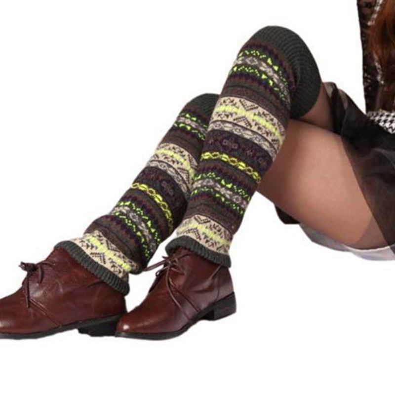 Bohemian Style Camouflage Pattern Knitting Long Section Knee Sleeve Women Casual Winter Leisure Leg Protector Warm Thicken
