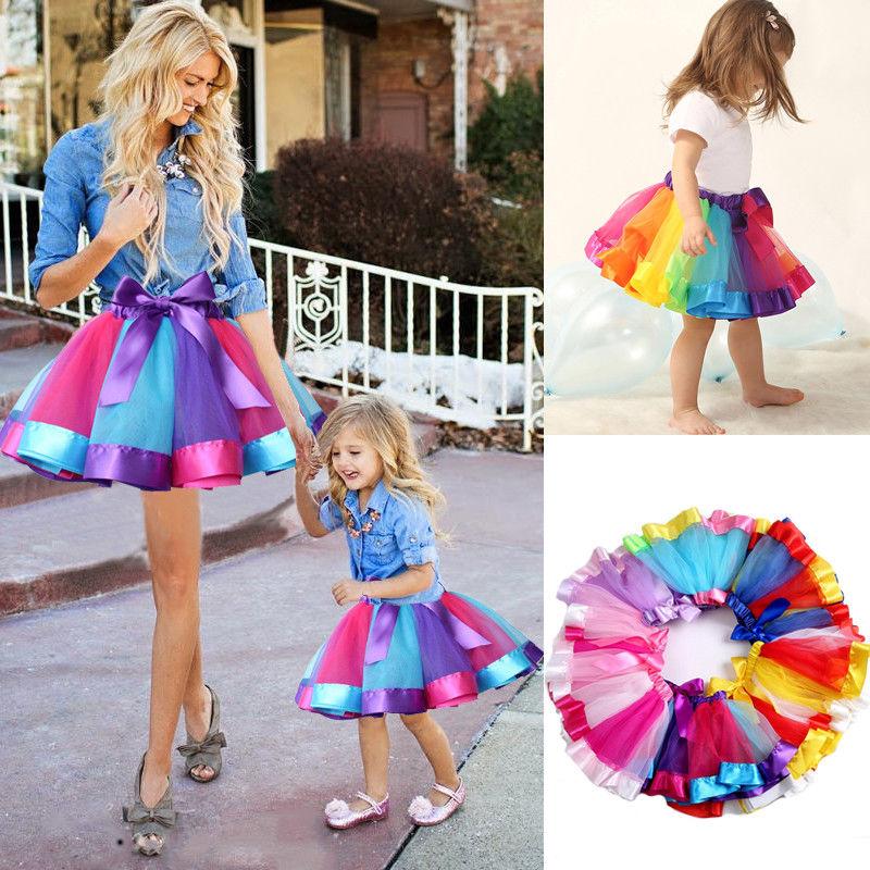 Mother And Daughter Skirt Women Girls Rainbow Tutu Skirt Princess Dance Dress Party