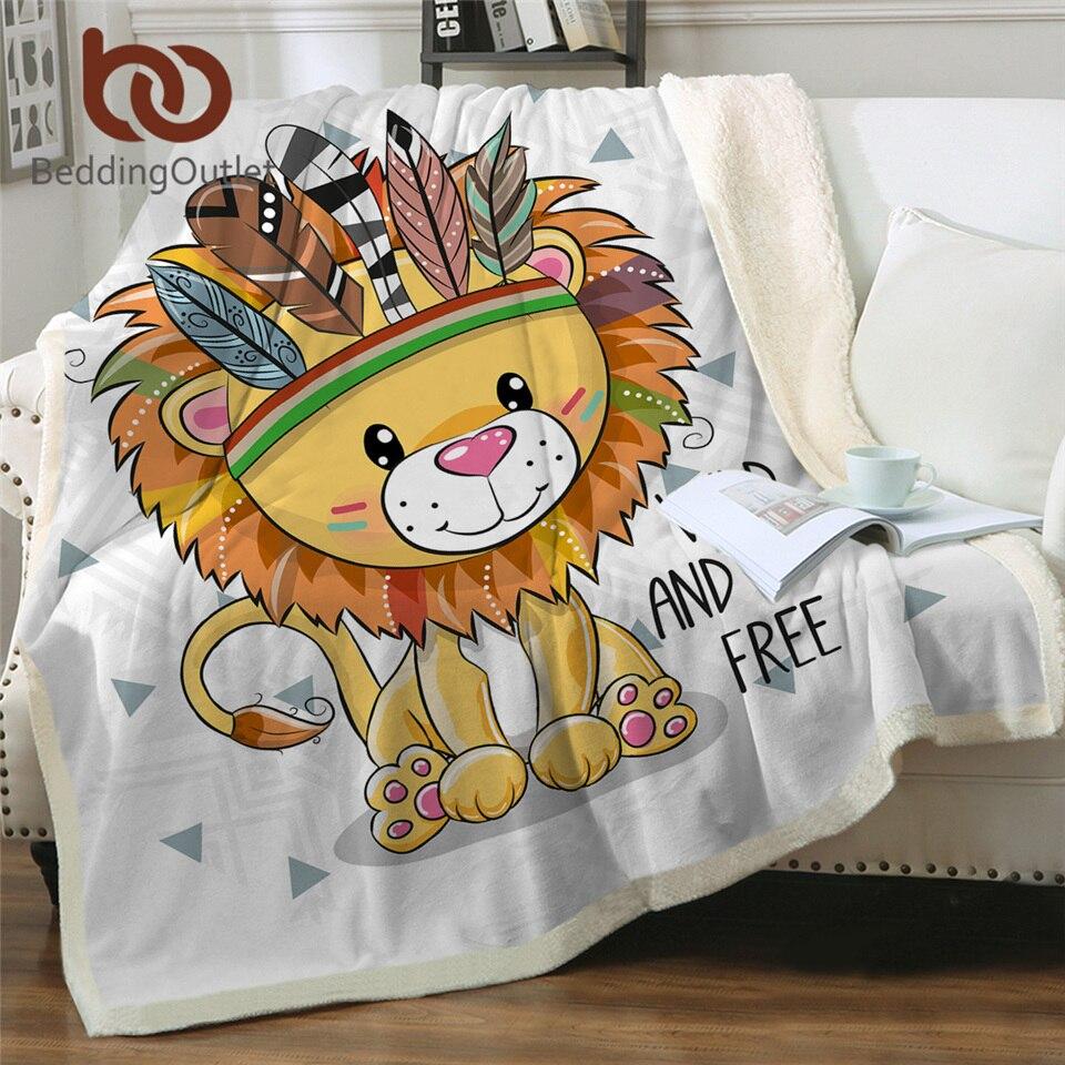 BeddingOutlet Tribal Animal Sherpa Blanket Lion Owl Pug Dog Fluffy Blanket Cartoon Aztec Throw Blanket Colorful Bedding Mantas(China)