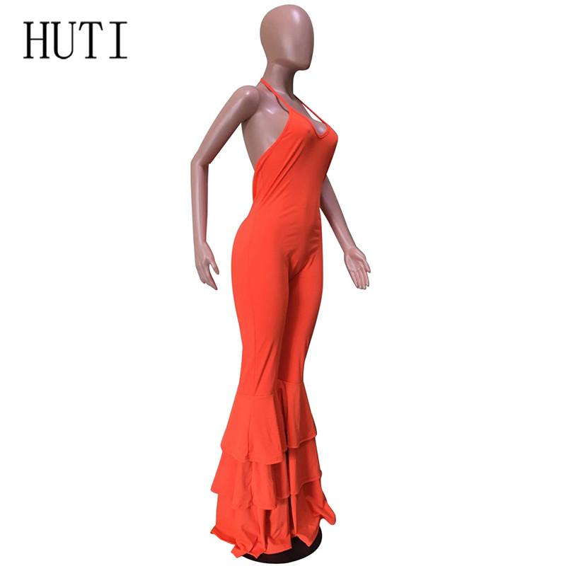 HUTI Sexy Long Jumpsuits Women Fashion Off Shoulder Summer Ruffled Backless Bodycon Sleeveless Romper Overalls Femme Playsuits in Jumpsuits from Women 39 s Clothing
