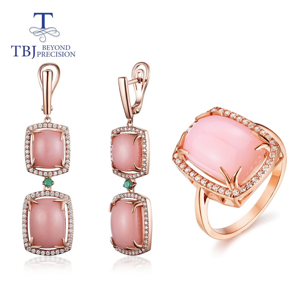 Opale parure de bijoux naturel rose opale match émeraude 925 bague en argent sterling et boucle d'oreille bijoux fins pour les femmes nouveau style 2020