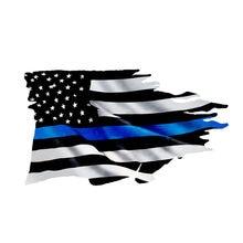 13cm x 7cm interessante eua polícia fina linha azul esfarrapada bandeira etiqueta do carro vinil estilo do carro acessórios decalque pvc