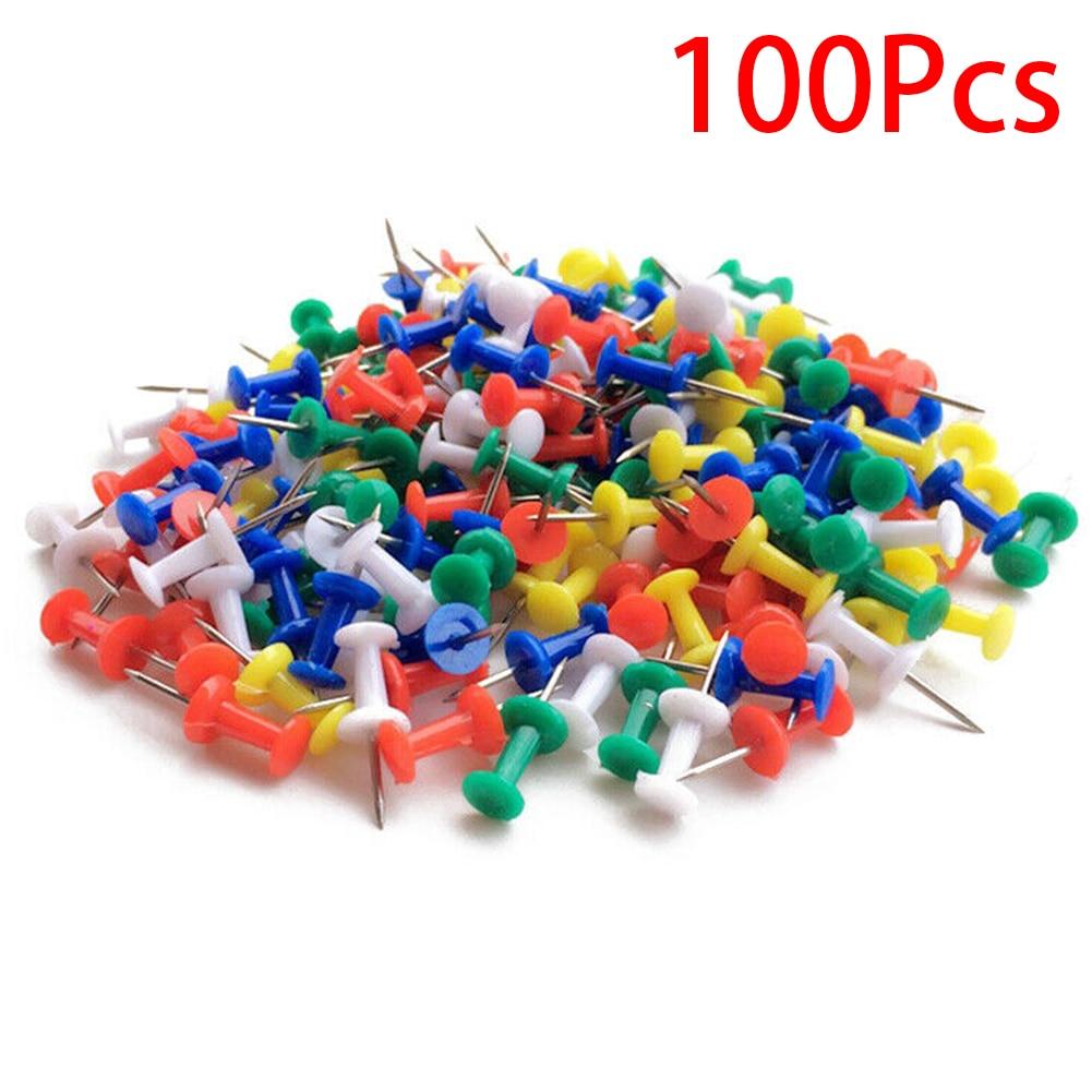 100pcs School Drawing Crafts Binding Supplies Colored Metal Stationery Notice Map Cork Board Home Office Thumb Tacks Push Pin