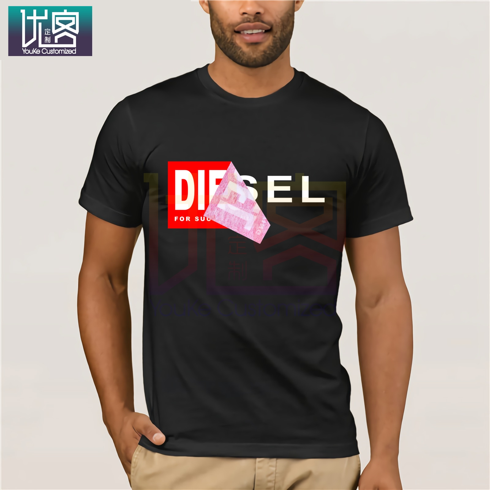 Diesel T-Diego QA T-Shirt Classic Style T-shirt Winner Tee Men Brand Clothing Clothes Popular T-Shirt Crewneck 100% Cotton Tees