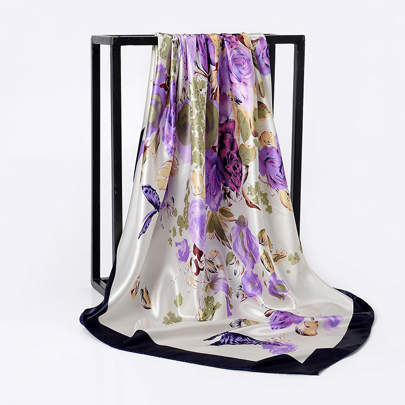 2019 pañuelo de seda hiyab de satén de moda para mujer pañuelo estampado Floral bufandas de pelo 90cm chales cuadrados y bufandas para mujer