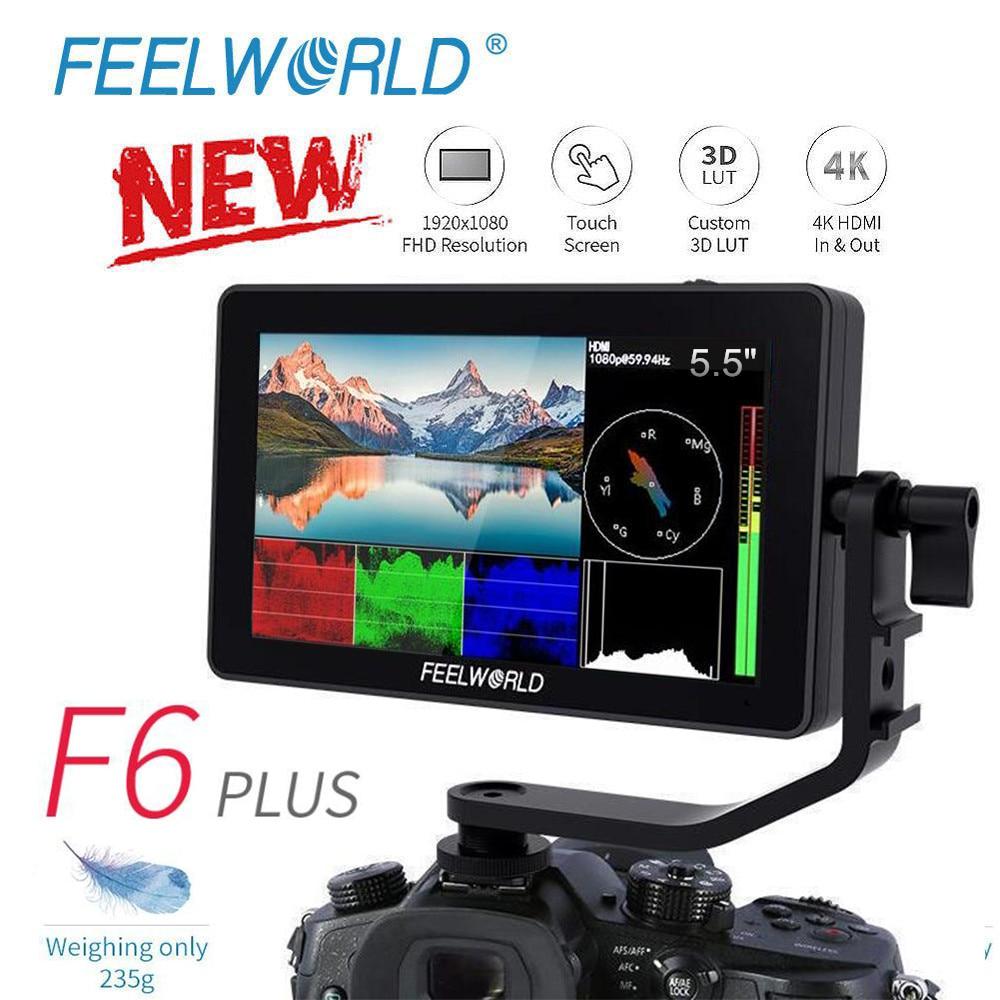 FEELWORLD F6 PLUS 5.5 Inch IPS 3D LUT Touch Screen 4K HDMI Monitor Full HD 1920x1080 DSLR Camera Field Monitor For Canon Nikon