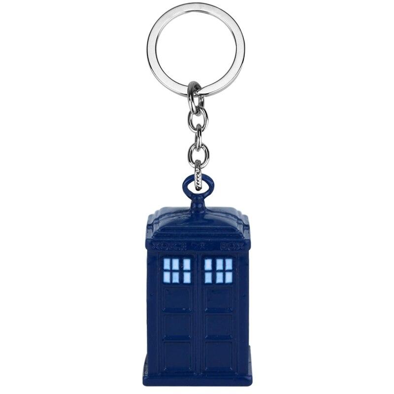 Doctor Who Blue Enamel TARDIS Police Box Key Chains Ring United Kingdom