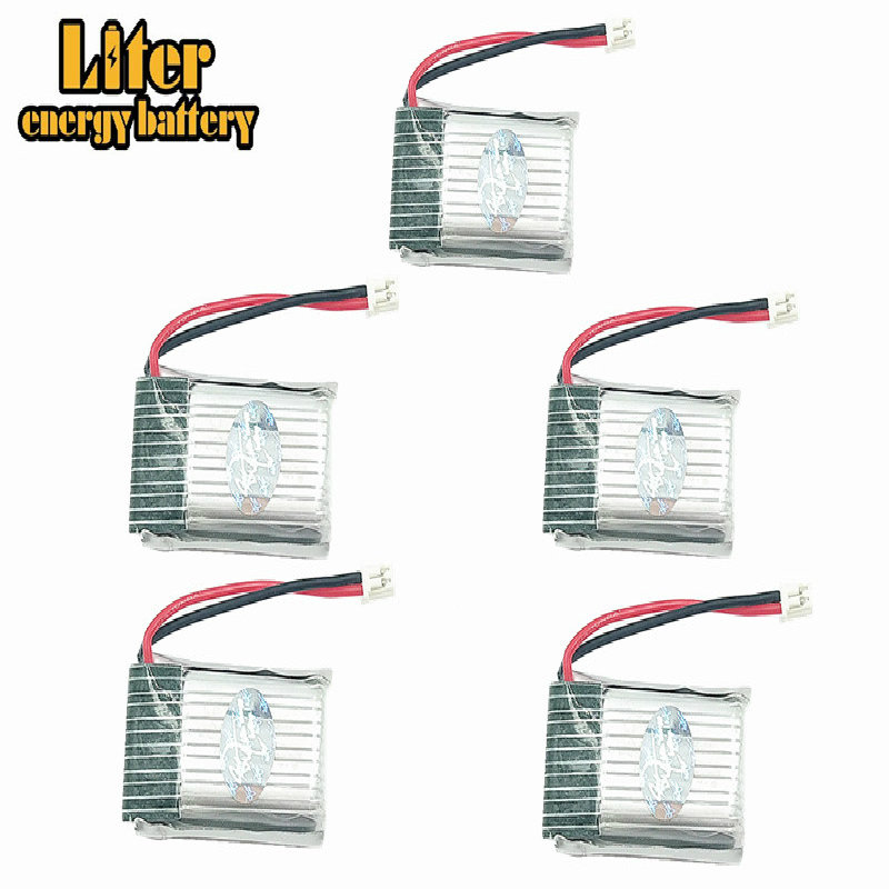 5pcs 1.25mm Plug 3.7v <font><b>200mah</b></font> <font><b>1S</b></font> H20 RC Quadcopter Spare parts <font><b>LIPO</b></font> Battery 1.25mm pin Battery 651723 image