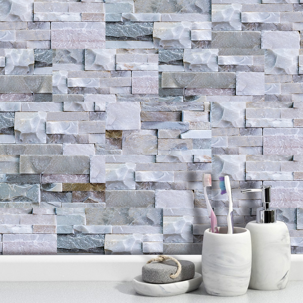 Light Gray Stone Brick Wall Stickers Retro Oil-proof Waterproof Tile Wallpaper For Kitchen Bathroom Ground Wall House Decoration