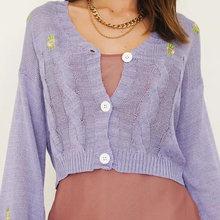 Gypsylady фиолетовый винтажный вязаный свитер кардиганы с цветочной
