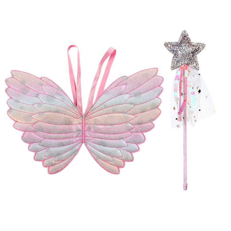Newborn Photography Props Clothes Accessory Gradient Color Butterfly Princess Angel Wings Fairy Stick Kids Dress Up Playing Toys