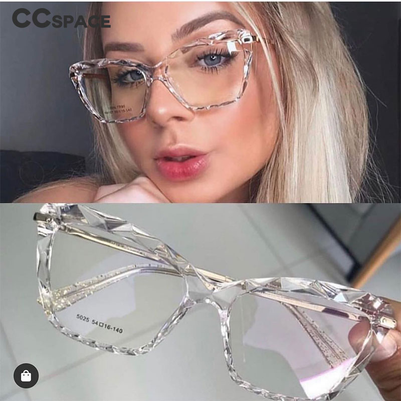 H45591 Women Fashion Diamond Style Frame Square Glasses Frames Optical Computer Glasses