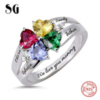 New 925 Sterling Silver Custom Four Heart Birthstone Engraved Names Ring for Mother's Day Gift Stelring Silver Jewelry
