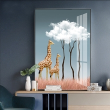 Cartoon giraffe Oil Art Prints for Living Room Kids Paintings On The Wall Home Decoration