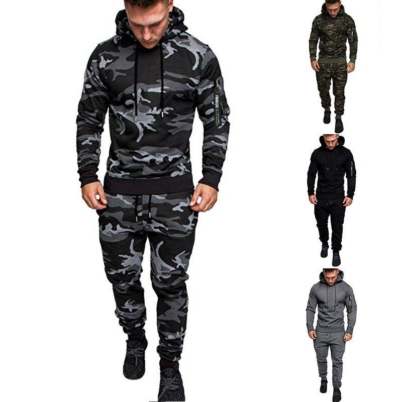 MEN'S WEAR 2019 Ouma New Style Zipper Hooded Wei Solid Color Versatile Gymnastic Pants Set Coat Men's