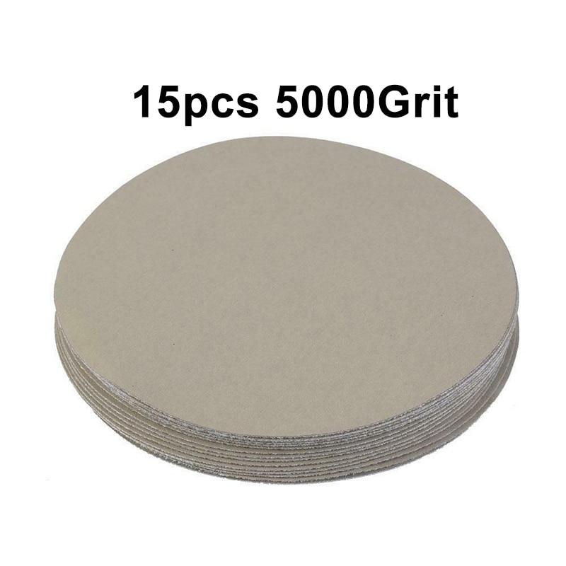 15PCS 5in Round Sandpaper 400 1500 5000 10000# Grit Sand Polishing Paper Abrasive Tools Disc