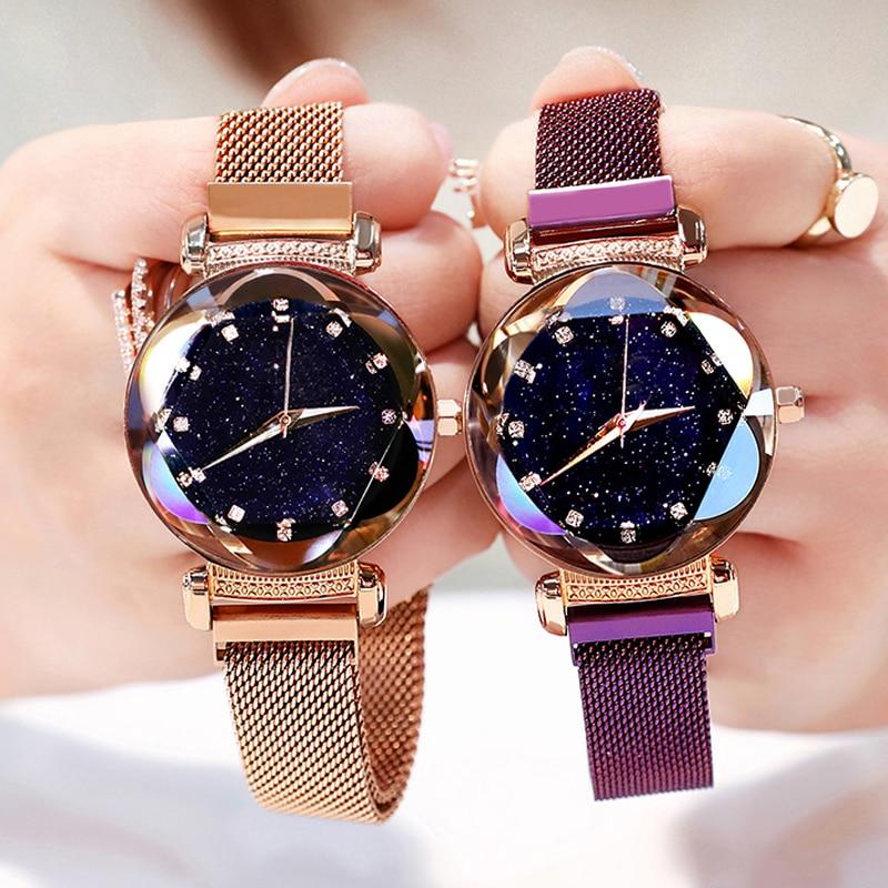 Hot Sale Women Magnet Buckle Starry Sky Diamond Watch Luxury Ladies Stainless Steel Quartz Wristwatches Gift Clock Dropshipping