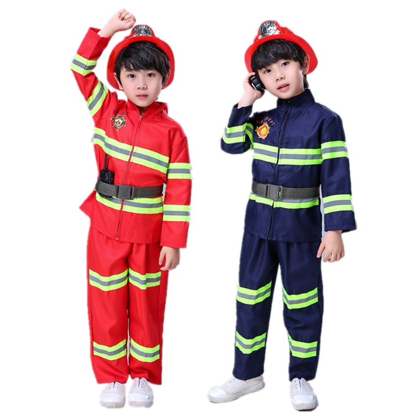 Boys Fireman Sam Cosplay Costume Children Halloween Party Firefighter Uniform Coat Pants Belt Work Wear Fancy Role Play Clothing