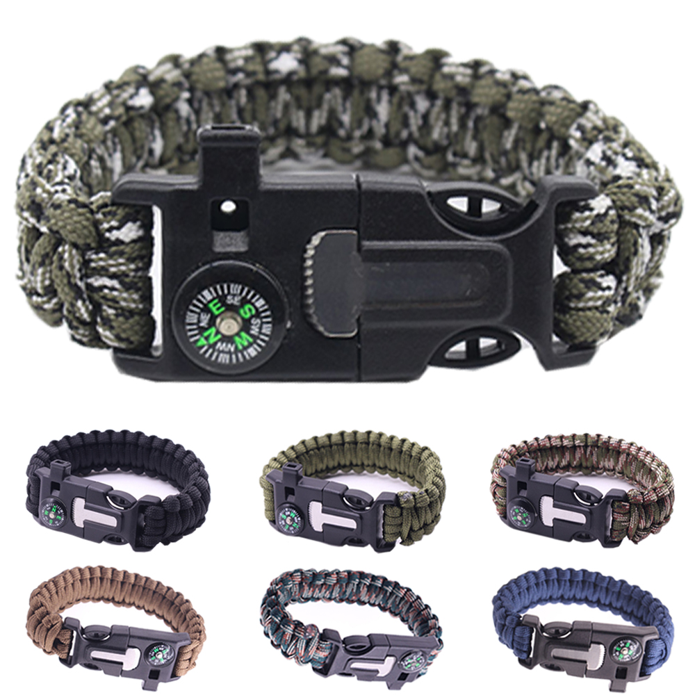 Military Emergency Paracord EDC Bracelet Multifunction Field Survival Escape Rope Outdoor Tactical Wrist Strap Survival Tools