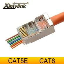 Xintylink ez rj45 conector cat6 cabo ethernet rg45 rg rj 45 cat5 cat5e jack rede stp blindado lan 8p8c 20/50/100 peças
