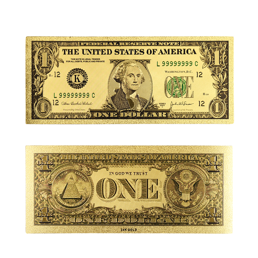 New Arrival US Bill Note 2 Dollar 24k Gold Plated Plastic Card Banknote 5pcs