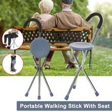 Folding Walking Cane Rest Stainless steel Walking Stick Chair Seat Non Slip Cane For Elder Outdoor Hiking Climbing Crutch(China)