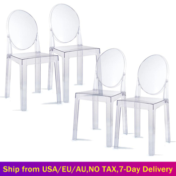 Nowoczesny zestaw 4 krzesło duchowe przezroczyste kryształowe krzesła do jadalni plastikowe akrylowe krzesło toaletowe do kuchni wesele ogród tanie i dobre opinie furgle CN (pochodzenie) = 125mm Meble do jadalni For Adult Nowoczesna i minimalistyczna krzesło do jadalni GHOST Clear Chairs