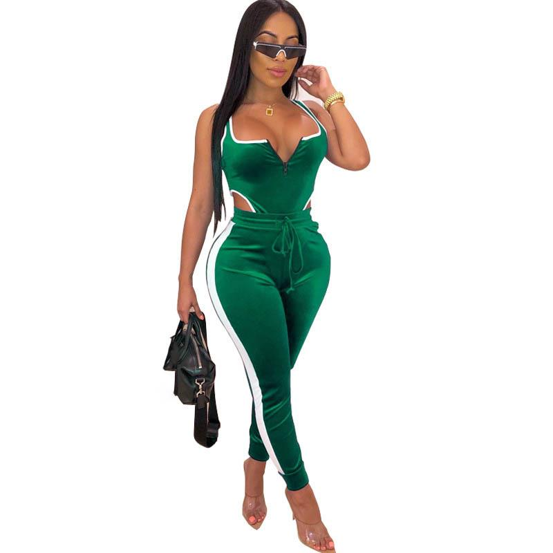 Sexy Two Piece Set Long Women Clothing Tracksuit Velvet Bodysuit Top And Pant Fall 2 Piece Club Outfits Matching Sets