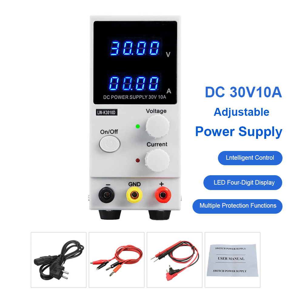 Dc Power Supply Adjustable 30V 10A Lab Power Voltage Regulator Stabilizer Switching Power Supply Kit DC Laboratory Bench Source