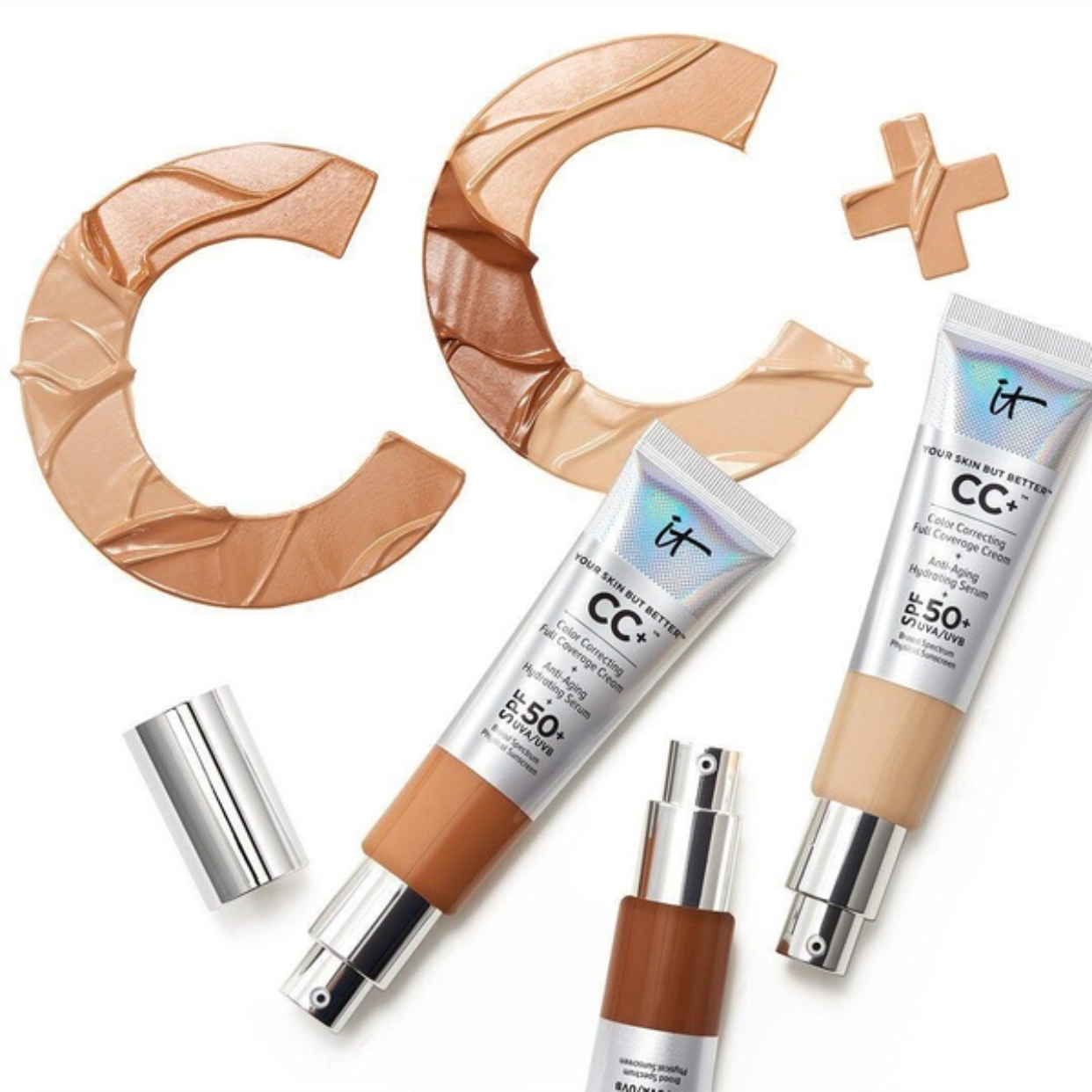 Face Concealer It Cosmetics CC+ Cream SPF50 Full Cover Medium Light Base Liquid Foundation Makeup Whitening Your Skin But Better