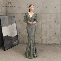 evening dresses sexy v neck mermaid black gold sequin Prom dress floor length in stock evening gown with long sleeves
