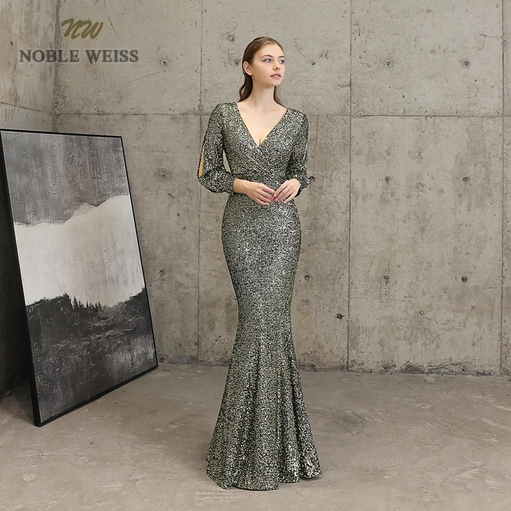 Robes de soirée sexy col en v sirène noir or sequin robe de bal longueur de plancher en stock robe de soirée à manches longues