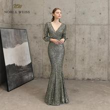 evening dresses sexy v-neck mermaid black gold sequin Prom dress floor