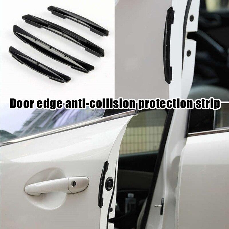 4x Blue Rubber Car Bumper Door Edge Guard Strip Anti-collision Scratch Protector