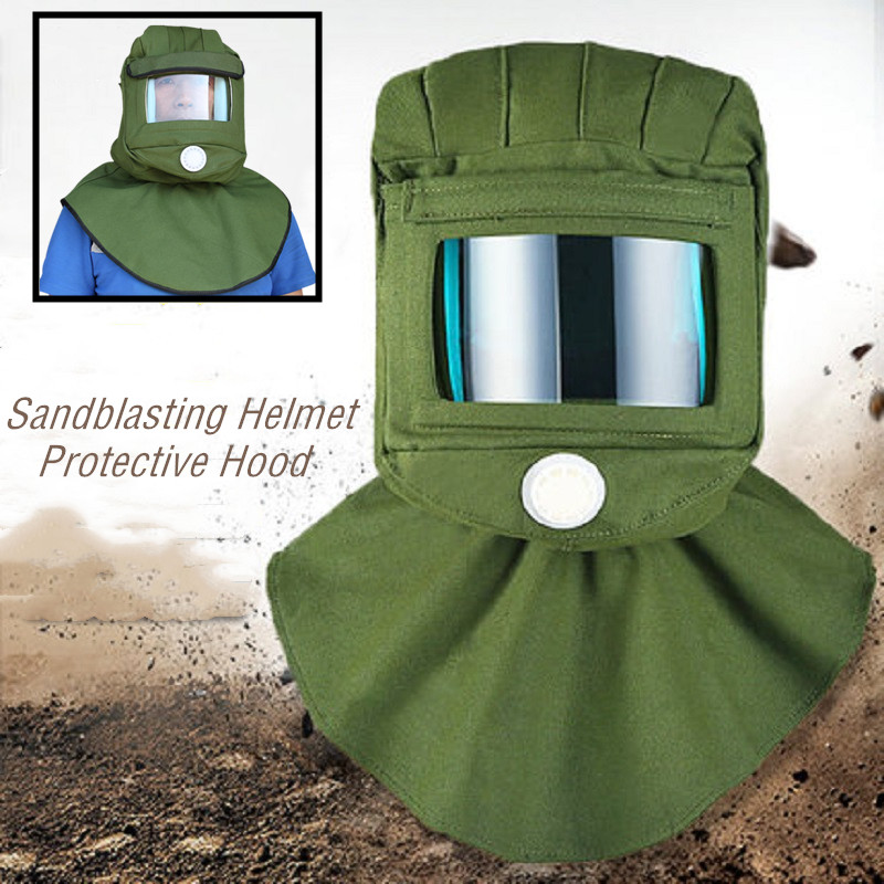 Safety Sandblasting Hood Helmet With Large Viewing Screen Breathing Valve Vent Back Anti Dust Protection