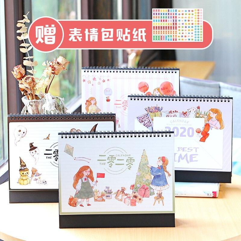 Childhood Memories 2020 Halloween/Christmas Desktop Standing Calendar Memo Daily Schedule Table Planner Yearly Agenda Organizer