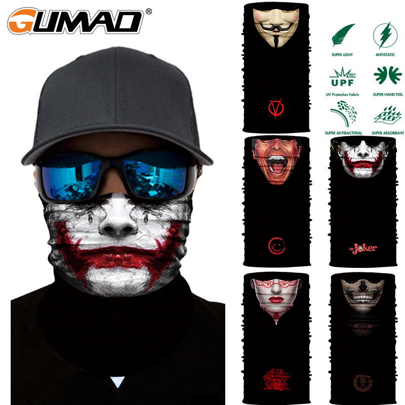 3D Joker Seamless Magic Neck Gaiter Face Shield Cycling Fishing Bike Ski Camping Bandana Halloween Headband Scarf Men Women Mask