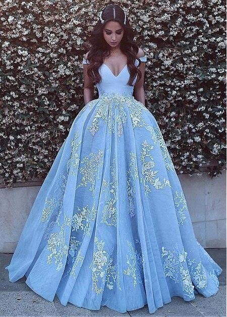 Sky Blue   Prom     Dresses   Long 2019 With Pockets Lace Appliques Off Shoulder Plus Size Evening Gowns Cheap Vestidos De Festa