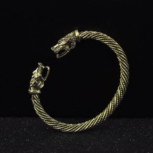 Wolf Head Bracelet Indian Jewelry Fashion Accessories Viking Bracelet Men Wristband Cuff Bracelets For Women Bangles(China)
