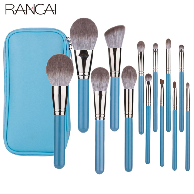 RANCAI 13pcs Makeup Brushes Set  With Leather Bag Foundation Powder Blush Eyeshadow Sponge Brush Soft Hair Cosmetic Tools