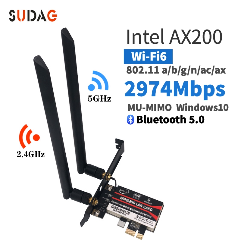 Sem fio ac ax200 802. 11ac/ax 2400 mbps de mesa pci e 1x wifi cartão para intel ax200ngw adaptador + bluetooth 5.0 mu mimo|Network Cards| |  - title=