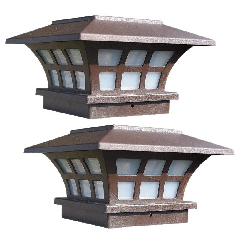 Top-2Pack Solar Post Lights Waterproof Outdoor Cap Lights for Wooden or Vinyl Posts Deck LED Lights