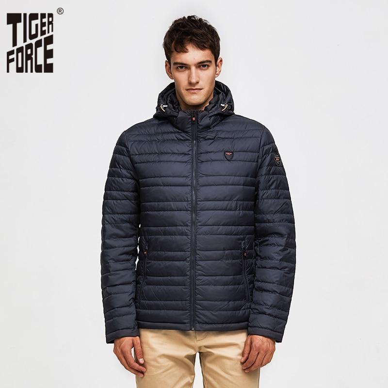 TIGER FORCE 2019 ชายเสื้อฤดูใบไม้ผลิแฟชั่นผ้าฝ้ายเบาะ Coat Hoody ของแข็งสีที่ถอดออกได้ Hooded ผู้ชาย Outerwear Parka-ใน เสื้อกันลม จาก เสื้อผ้าผู้ชาย บน   1