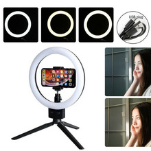 New Dimmable 6 LED SMD Ring Light USB Plug Ring Light Studio Photo Video Dimmable Lamp Tripod Stand Selfie Camera Phone dimmable diva 12 60w led studio ring light beauty make up selfie video photo