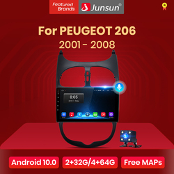 Junsun 4G+64G Android 10 For PEUGEOT 206 2001 - 2008 Auto 2 din Car Radio Stereo Player Bluetooth GPS Navigation No 2din dvd