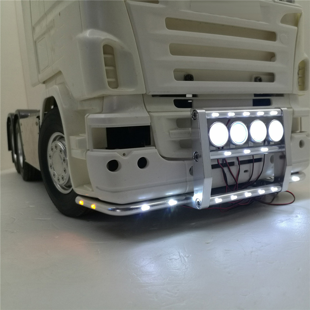 Front Bumper with 22 Lights for 1/14 Tamiya Scania R620 56323 R730 RC Truck Tractor Parts Accessories