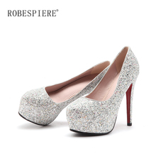 ROBESPIERE Brand Women Party Wedding Pumps Sexy Pointed Toe High Heel Ladies Platform Shoes Slip On For Spring Autumn A42