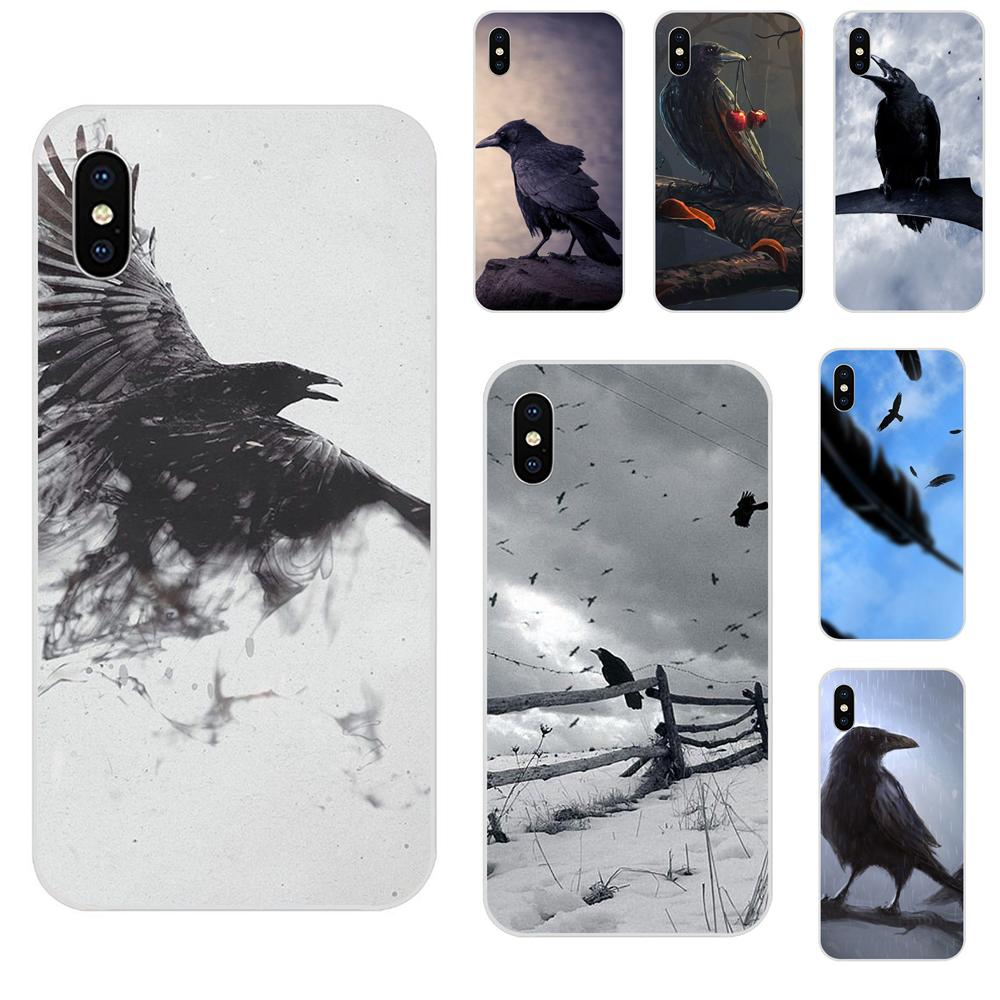 New Personalized Print Phone Accessories Case Animal Bird Black Crow For Apple iPhone 4 4S 5 5C 5S SE 6 6S 7 8 Plus X XS Max XR