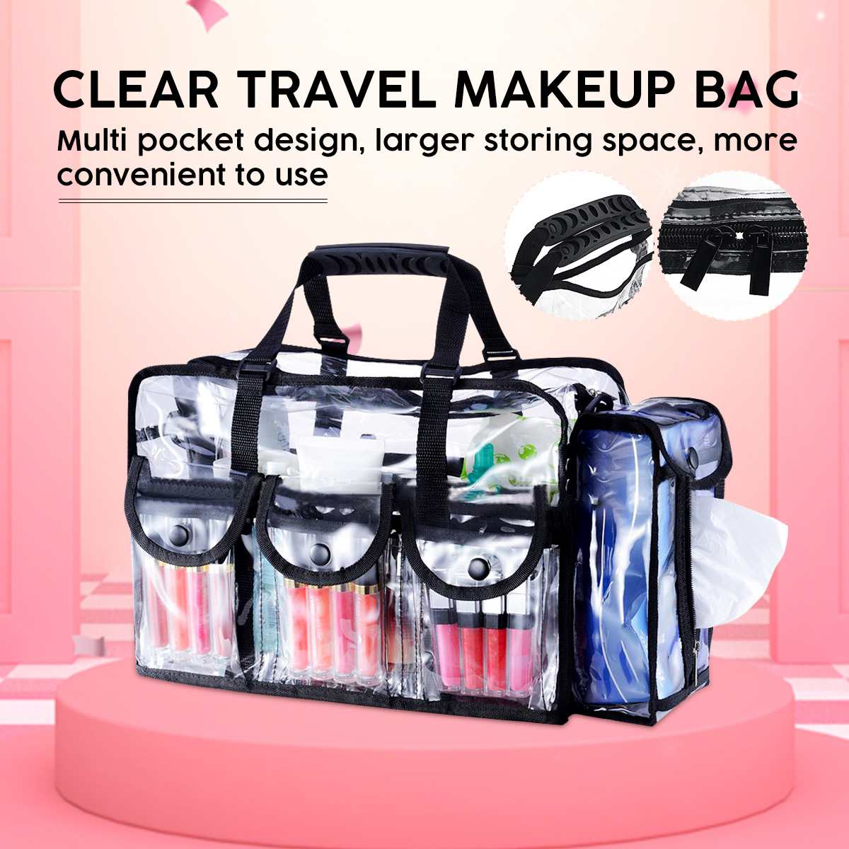 Large Capacity Cosmetic Bags PVC Transparent Travel Tote Clear Organizer Waterproof Professinal Make Up Organizer Bag